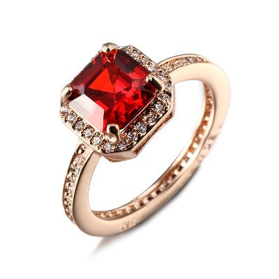 Classic Wedding Jewelry Ring with Garnet stone in high quality Champ Gold plated