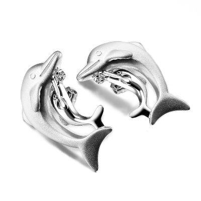 Newest sealife Jewelry, Dolphins shaped Earring with high quality plating