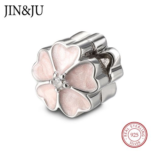 925 Sterling Silver Enamels Darling Daisy Meadow Clip Stopper Charms Fit Bracelets Jewelry