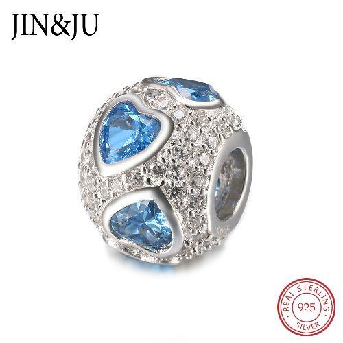 浪漫款心形纯银锆石珠子可搭组成手链或项链的情人节礼物