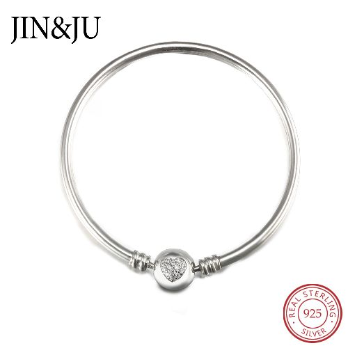 LOVE Pure 925 Sterling Silver Bangle&Bracelets with Top quality Cubic Zirconia for Lady Gifts