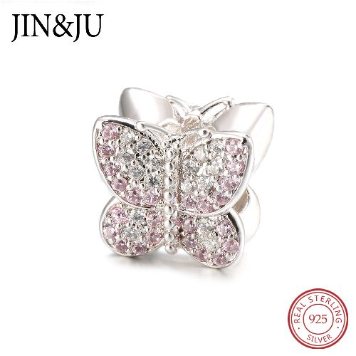 Classic 925 Sterling Silver Sparkling Pink Butterfly DIY Charm Beads for Women Gifts Jewelry