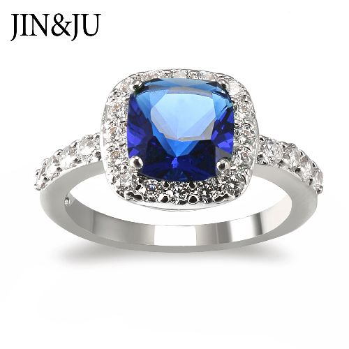 Classic Square shaped Ring for Women with popular Sapphire color Stones in Top quality Rhodium plated
