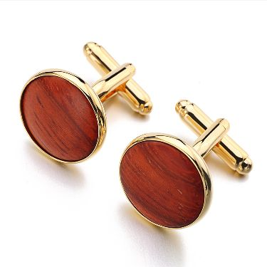 Simply Round shaped Wooden Cuff links Business Style Jewelry for Men