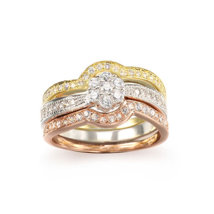 Fashionable triColor Plated Wedding Ring sets with Top quality diamonds CZ stones for Women Gifts Jewelry
