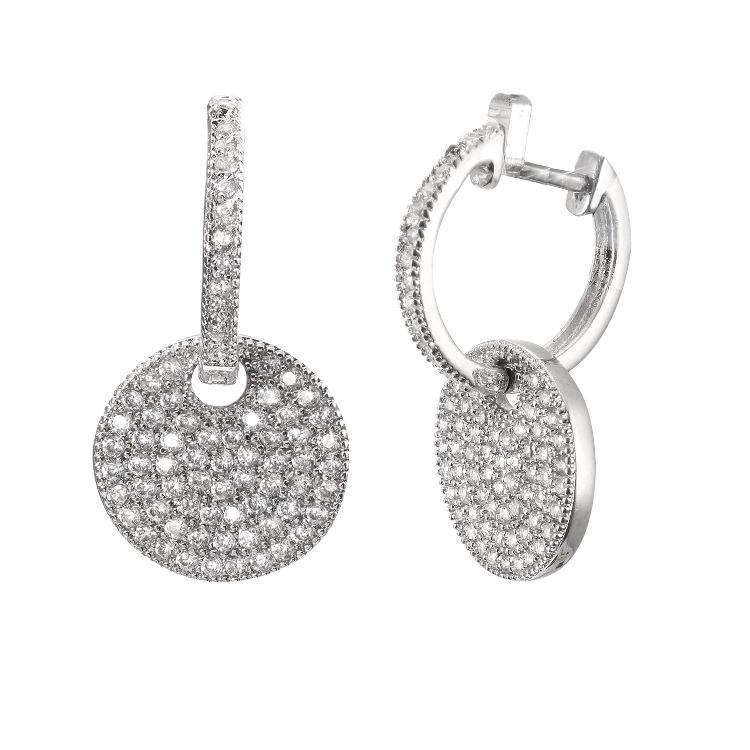 High Quality Fashion drop Earring with popular Cubic Zirconia stones Rhodium Plated