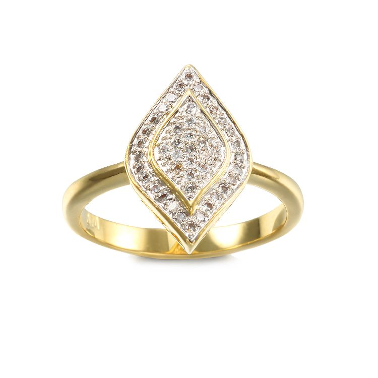 Fashion design pave setting CZ ring for Women with Two tone plated