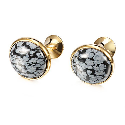 Luxury Alabaster Stone Cufflinks for Mens Shirt Cuff with high standard Gold plated for Party