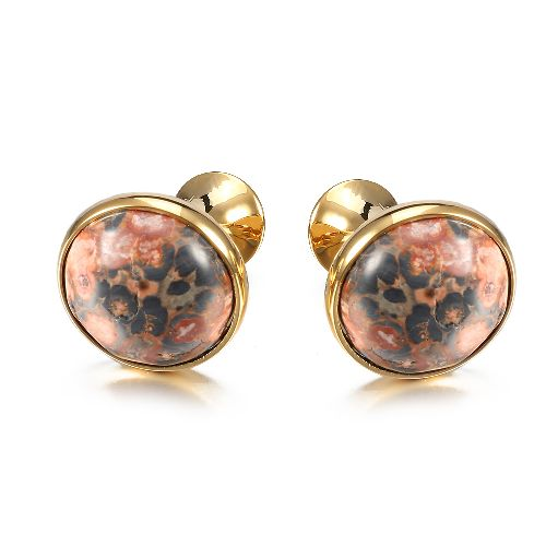 Newest style Red Multicolor Stone Cufflinks in Round shaped for Men