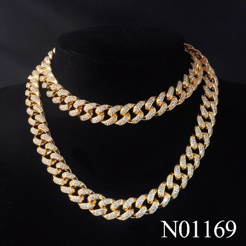 Top Quality Hip-hop Style Cuban Chain Links for Men with full CZ stones Gold plated