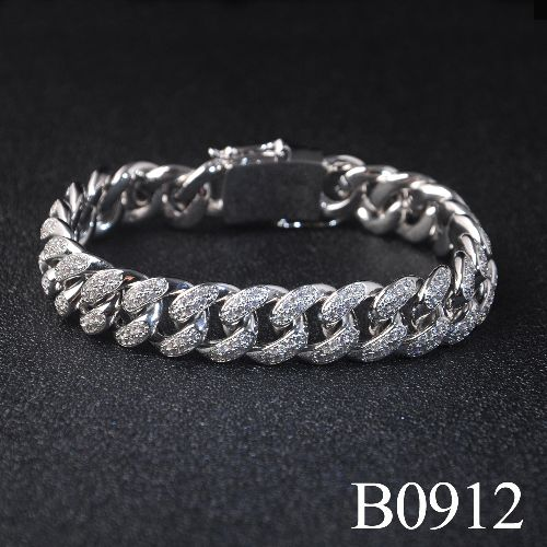 Hip-Hop Style Cuban link Bracelets for Men Jewelry with full CZ stones