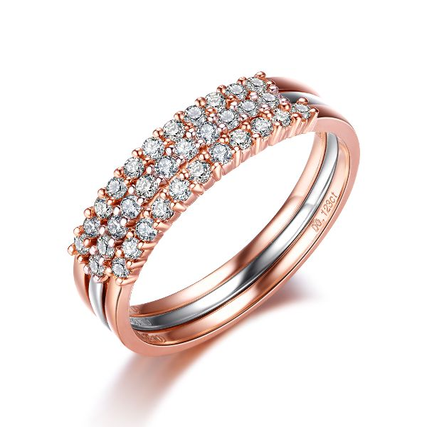 Elegant Triple Color plated Wedding Ring sets for Women with Classic style
