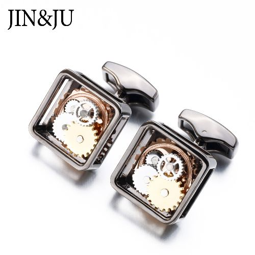 Newest Square Steampunk Gear Cufflinks Watch Mechanism for Men Formal Business Wedding Style Jewelry