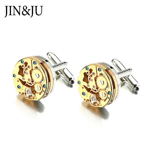 Gold Watch Movement Cufflinks Stainless Steel Steampunk Gear Watch Mechaism Cuff Links for Mens gemelos